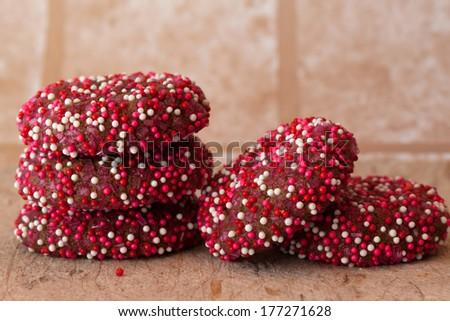Chocolate Fudge Cookies with mutli-colored Sprinkles - stock photo