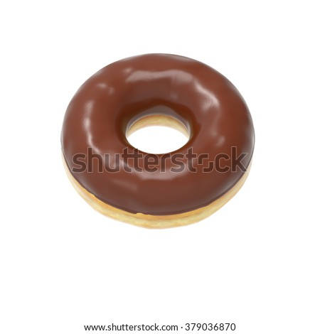 Chocolate-glazed donut isolated on white background
