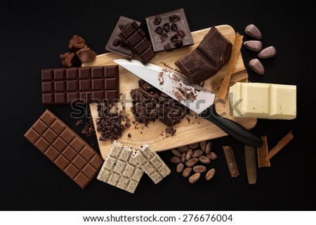 Chocolate handmade candies on a kitchen table - stock photo