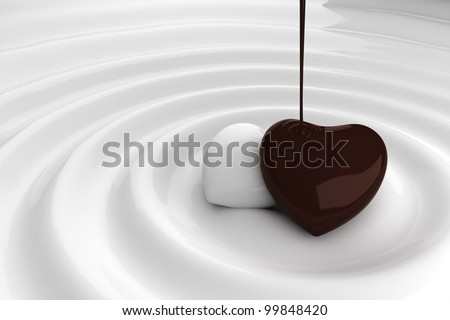 Chocolate heart in white chocolate