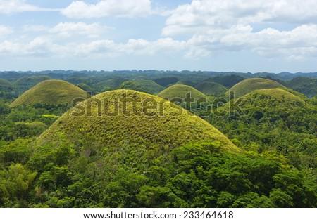 Chocolate hills in Bohol Island, Philippines - stock photo