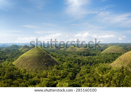 Chocolate Hills in Bohol Island, Philippines. - stock photo