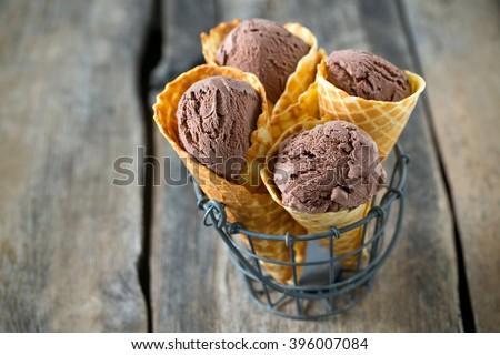 chocolate ice cream - stock photo