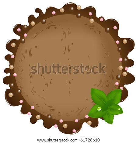 Chocolate Ice?Cream Ball With Mint Leaves, Isolated On White
