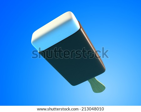 Chocolate ice cream 3d Illustrations on light blue background. - stock photo