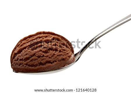 Chocolate ice cream in spoon on white background - stock photo
