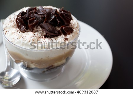 chocolate ice cream  of coffee shop on summer