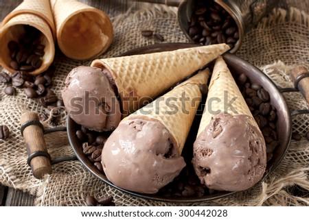 Chocolate ice cream  on  wafer cone - stock photo