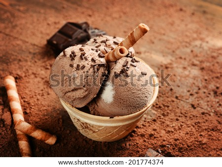 Chocolate ice cream on wooden background - stock photo