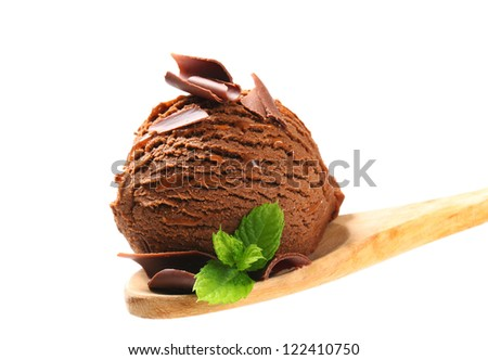 Chocolate ice cream on wooden spoon