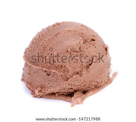 Chocolate Ice Cream Scoop. - stock photo