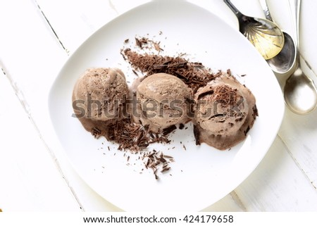 Chocolate ice cream with chocolate chips - stock photo