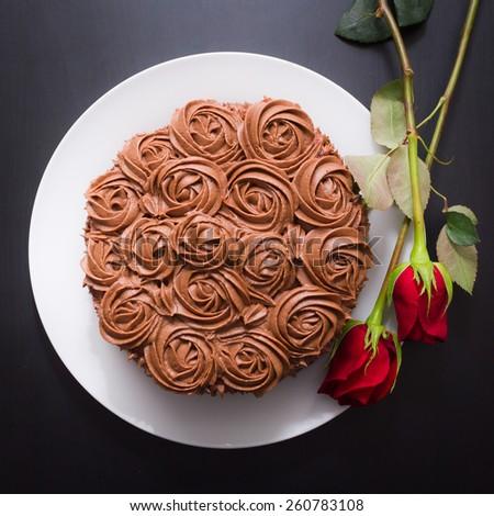 Chocolate icing cake - stock photo