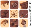chocolate icons set - stock vector