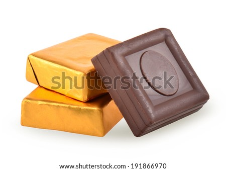 Chocolate isolated on white - stock photo