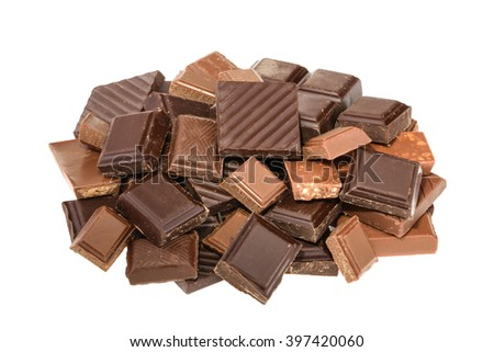 Chocolate isolated on white. without shadow - stock photo