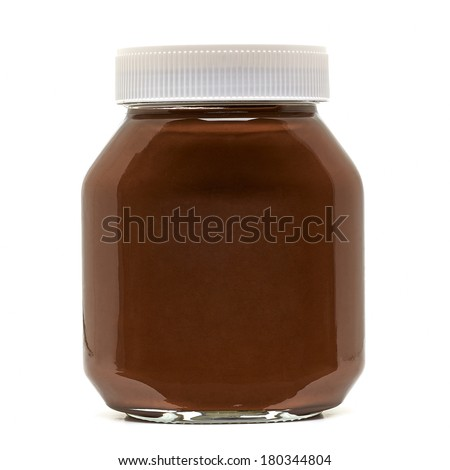 Chocolate jar on white background - stock photo