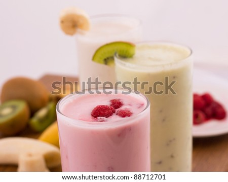 chocolate, kiwi and raspberry milkshakes