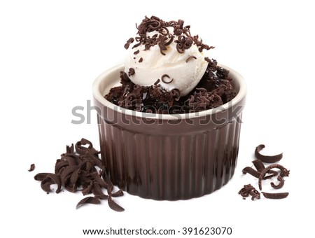 Chocolate lava cake with ice-cream, isolate on white - stock photo