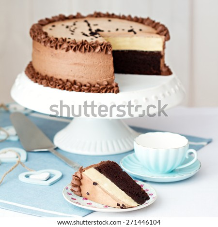 Chocolate layer cake on a cake stand - stock photo