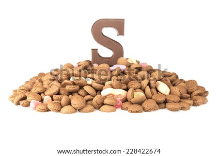 Chocolate letter and ginger nuts, Dutch sweets at 5 december Sinterklaas party - stock photo