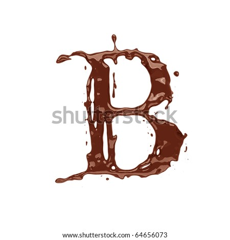 Chocolate letter B isolated on white background - stock photo