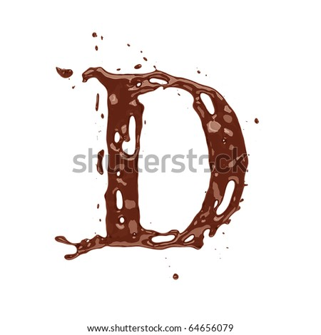 Chocolate letter D isolated on white background - stock photo