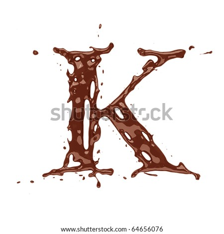 Chocolate letter K isolated on white background - stock photo