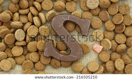 Chocolate letter S for the Dutch Sinterklaas on December 5th                            - stock photo