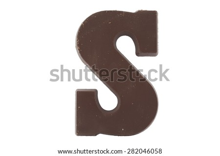 Chocolate letter S. Sweet candy - stock photo