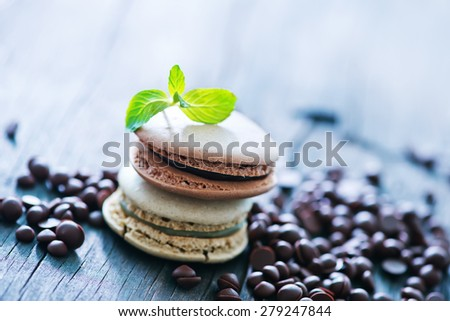 chocolate macaroons - stock photo