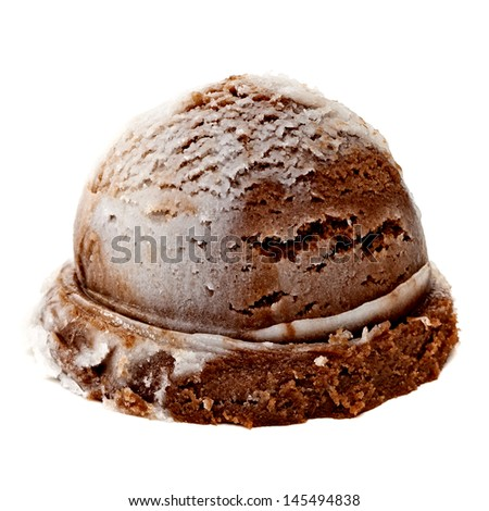 Chocolate marbled ice cream scoop on white background - stock photo