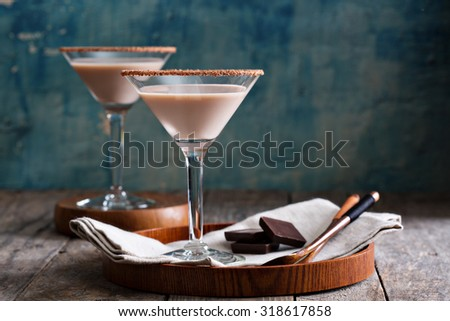 Chocolate martini cocktail made from chocolate, cream and vodka - stock photo
