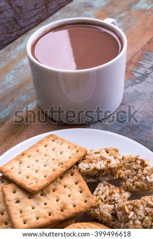 Chocolate Milk and Biscuits / Chocolate Milk and Biscuits / Chocolate Milk and Biscuits - stock photo
