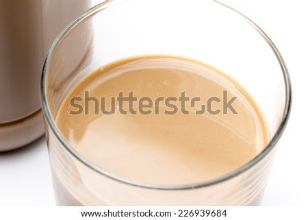 Chocolate Milk Bottle and Glass White background