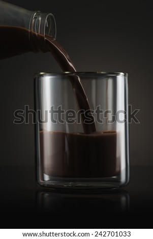 Chocolate Milk Pour into Glass