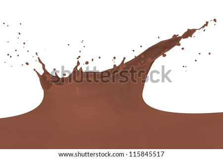 chocolate milk splash isolated on white background