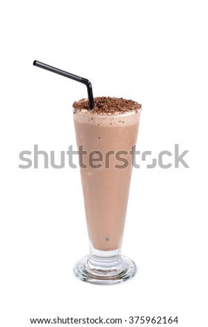 chocolate milkshake drink on white background - stock photo