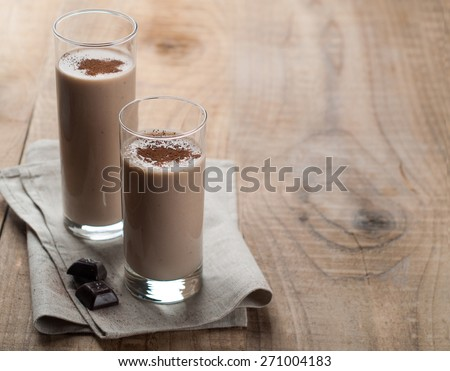 Chocolate milkshake (smoothie) in glass, selective focus