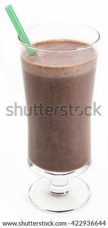 Chocolate milkshake with a green straw against a white background - stock photo