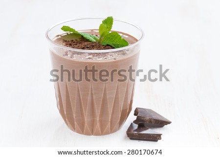 chocolate milkshake with fresh mint in a glass on white background, close-up - stock photo
