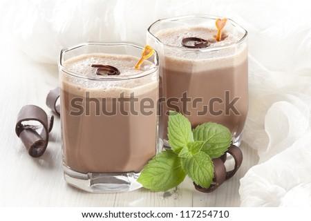 chocolate milkshake with mint - stock photo
