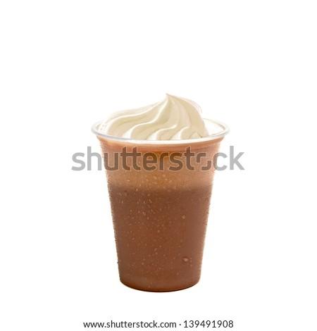 Chocolate milkshake with vanilla cream on white background - stock photo