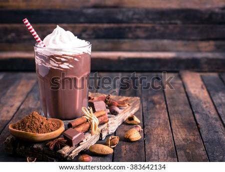 Chocolate milkshake with whipped cream - stock photo