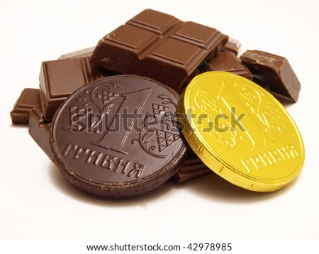 chocolate money - stock photo