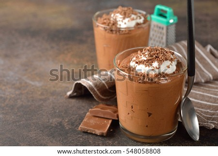 Chocolate mousse in a glass topped with whipped cream