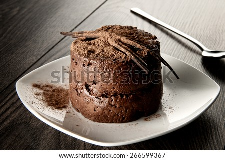 Chocolate mousse with chocolate on plate