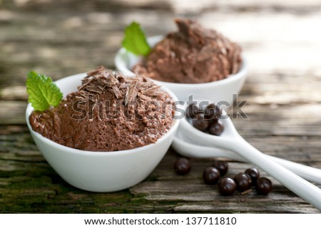 Chocolate mousse with chocolate pearls - stock photo