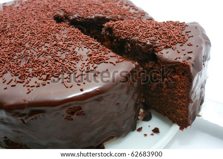 Chocolate Mud Cake isolated on White - stock photo
