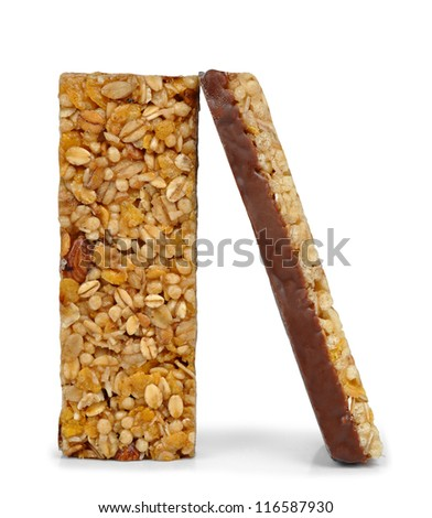Chocolate Muesli Bars isolated on white background - stock photo